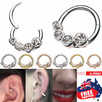 316L Hinged Segment 16g Hoop 8mm Clicker Ring With CZ Ear Nose Body Piercing 1pc