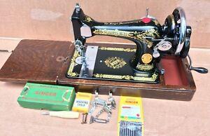 Vintage Singer 28, 28K Hand crank sewing machine with accessories