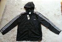 Womens ADIDAS Full Zip Hoodie Windbreaker Lightweight Jacket 3 Stripe Multi Size