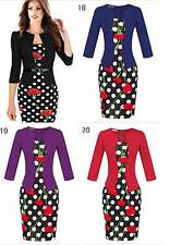 Women Celebrity Pencil Dress Polka dot Floral Knee 3/4 Sleeve Work Business 8-18