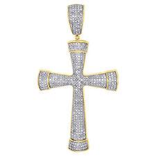 Pendant Tube Domed Charm 1.20 Ct. 10K Yellow Gold Genuine White Diamond Cross