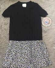 KATE SPADE Hollyhock Black Knit Bodice Print Accordion Pleat Skirt Dress Sz XS