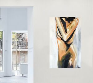 nude woman lady abstract art painting print canvas framed by Andy Baker