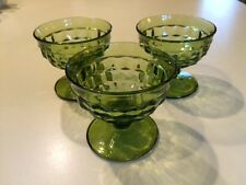 3 VINTAGE AVOCADO GREEN INDIANA WHITEHALL COLONY CUBIST FOOTED SHERBET DISHES