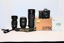Nikon D750 Digital Camera Package, 3 Nikon f/2.8 lenses, battery & charger EUC