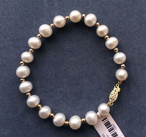 Genuine natural 8-9mm nearly round south sea white pearl bracelet 7.5 inches AAA
