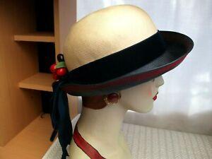 MITZI LORENZ vintage 1980's Beige & Navy Blue hat +velvet band +  cherries exc