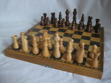 vintage folding Chess set board wooden wood pieces game