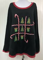 Karen Scott NWT Petite Small PS Christmas Sweater Candy Canes Trees Tic Tac Toe
