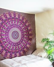 Queen Mandala Tapestry Bohemian Wall Hanging Art Cotton Paisly Printed Bedspread