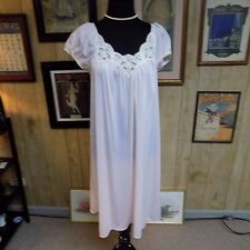 Vintage Pink Nylon Ivory Lace Miss Elaine Waltz Length Loose Fit Nightgown L
