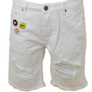 Pantoloni corti short uomo bermuda in denim jeans bianco con strappi e stemmi fr