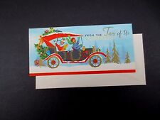 Vintage Unused Xmas Greeting Card Old Fashioned Car With Gifts & Holiday Tree
