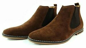 Mens Faux Suede Chelsea Boots Italian Style Smart Casual Desert Ankle Shoes