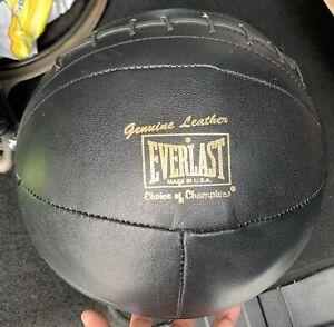 Vintage Black Leather Medicine Ball by Everlast (1940-1950)