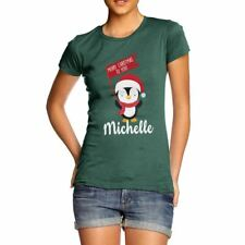 Twisted Envy Personalised Xmas Penguin Women's Funny T-Shirt