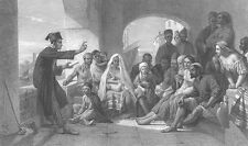 MAN READS Poetry to town Folk IN Old ITALY MARKET ~ Old 1863 Art Print Engraving