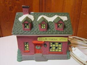 Vintage Ceramic 1994 Lighted Christmas Village Dollar General Store w Light Cord