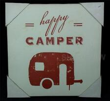 "Primitive Studio 5 Wrapped Canvas 12"" x 12"" Happy Camper Box Sign"