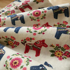 50x150cm Cotton Linen Fabric DIY Home Deco Fabric Printed Wooden Horse Flower F