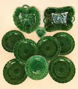 10 Antique Pieces of Wedgwood Green Majolica, Various Dates, Shapes and Decors.