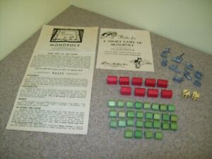 Vintage Parker Brothers Monopoly Replacement Extra Game Pieces Instructions