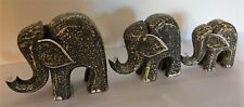 Elephants, sets of 3, wooden green washed, modern, stature/ornament, decor