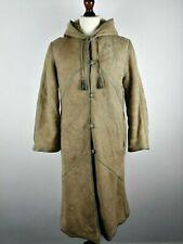 Womens Vintage Suede Shearling Coat Lamb Fur Long Leather Hooded Duffle | Medium