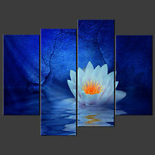BLUE WATER LILY CANVAS WALL ART PICTURES PRINTS DECOR LARGER SIZES AVAILABLE
