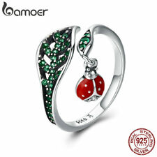 Bamoer .925 Sterling Silver Open Ring ladybug and leaves with green cz For Women