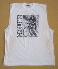 Vtg CYCLING White Sleeveless BIG GRAPHIC T-SHIRTGym Bike Riding Size Men's XL