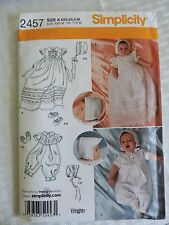 Simplicity 2457 Babies Boy Girl Christening Sets With Bonnet & Shoes XXXSM-MED