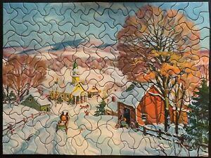 "Vintage TUCO Deluxe Picture Puzzle ""SLEIGHTIME IN THE VILLAGE""  Complete 12""x16"""