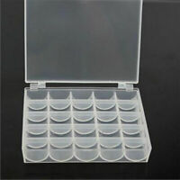25 Spools Bobbins Sewing Machine Bobbin Case Organizer Storage Box Clear Ca C4G6