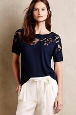 Anthropologie BARASCHI XS Top Calabas Lace Tee Navy Blouse Flowers Cutwork NWT