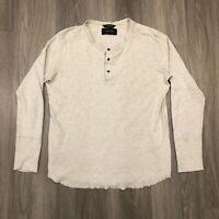 Wings + Horns Mens Large Light Gray Long Sleeve Henley Shirt 100 Cotton