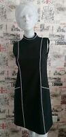 Warehouse Black White Trimmed Pencil Highneck Dress size 10 UK