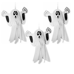 3 x Large Halloween Paper 3D Hanging Decorations Scary Black and White Ghost UK