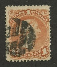 Canada 1868 Large Queen 1c brown red #22 used Fancy Cork Cancel