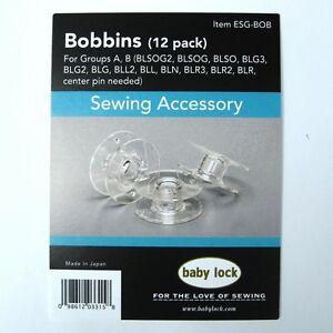 12 Pack Genuine BabyLock Bobbins ESG-BOB With Plastic Bobbin Storage Case