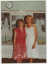 Vintage 70s PHOTO Pair Women Guests At 25 Year Wedding Anniversary Party