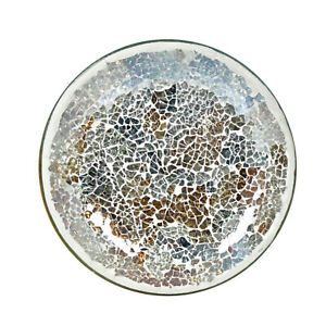 Gold & Silver Crackle Candle Plate Tray Mosaic Mottled Textile Design Vintage