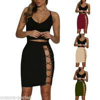 Women Crop Tops Vest +Skirt Sexy Bandage Bodycon Two Piece Sleeveless Dress