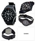 MRW-200H-1B Casio Watch 100M Date Day Display Black White Analog Resin New