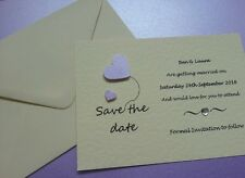 25 Handmade Personalised Love Heart Wedding Save The Date Cards free envelopes