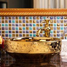 "16.4"" Gold Ceramic Bathroom Basin Vessel Sink Mixer Faucet Tap Pop-up Drain Set"