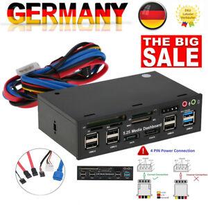 "5.25"" USB 3.0 Hub Dashboard Media Front Panel eSATA SATA Audio Card Reader K8C8"