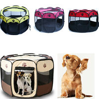 Pet Dog Cat Playpen Tent Exercise Fence Kennel Cage Crate Portable Comfortable