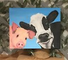 Cow and Pig. Original Acrylic Canvas Painting. 15X18X1'.
