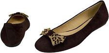 Bailarina gamuza de cuero marrón colección parte tamaño 37 bucle print de leopardo